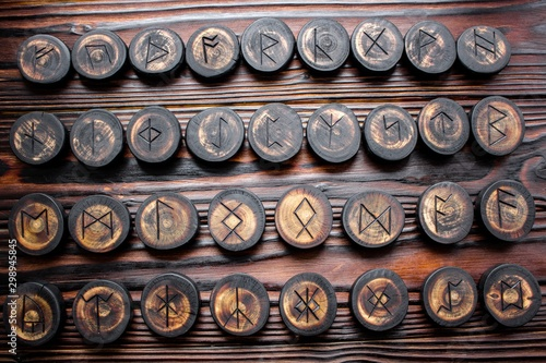 Set of anglo-saxon runes carved in wood - anglo-saxon futhark (futhorc) Wallpaper Mural