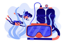 Scuba Divers Swimming Under Water And Mask With Snorkel, Tiny People. Diving School, Best Commercial Diving, All Levels Diver Program Concept. Pinkish Coral Bluevector Isolated Illustration