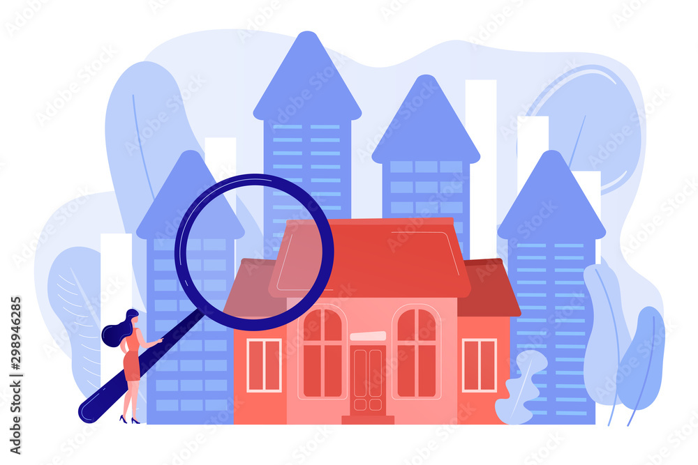Fototapeta Real estate customer with magnifier looking for property for sale. Real estate market, real estate transactions, property market concept. Pinkish coral bluevector isolated illustration