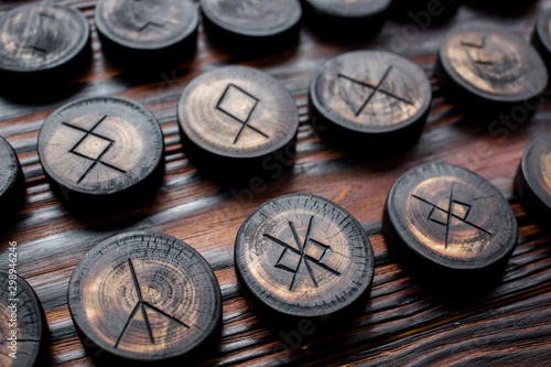 Set of anglo-saxon runes carved in wood - anglo-saxon futhark (futhorc) Canvas Print