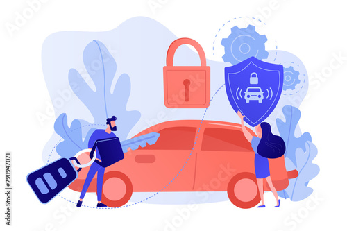 Photo Businessman with car remote key and woman with shield at car with padlock