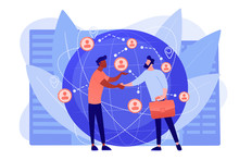 Successful Partnership Negotiation, Partners Handshaking. International Business, Global Business Collaboration, International Teamwork Concept. Pinkish Coral Bluevector Isolated Illustration