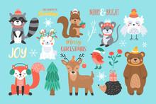 Christmas Holiday Cute Woodland Animals Set.