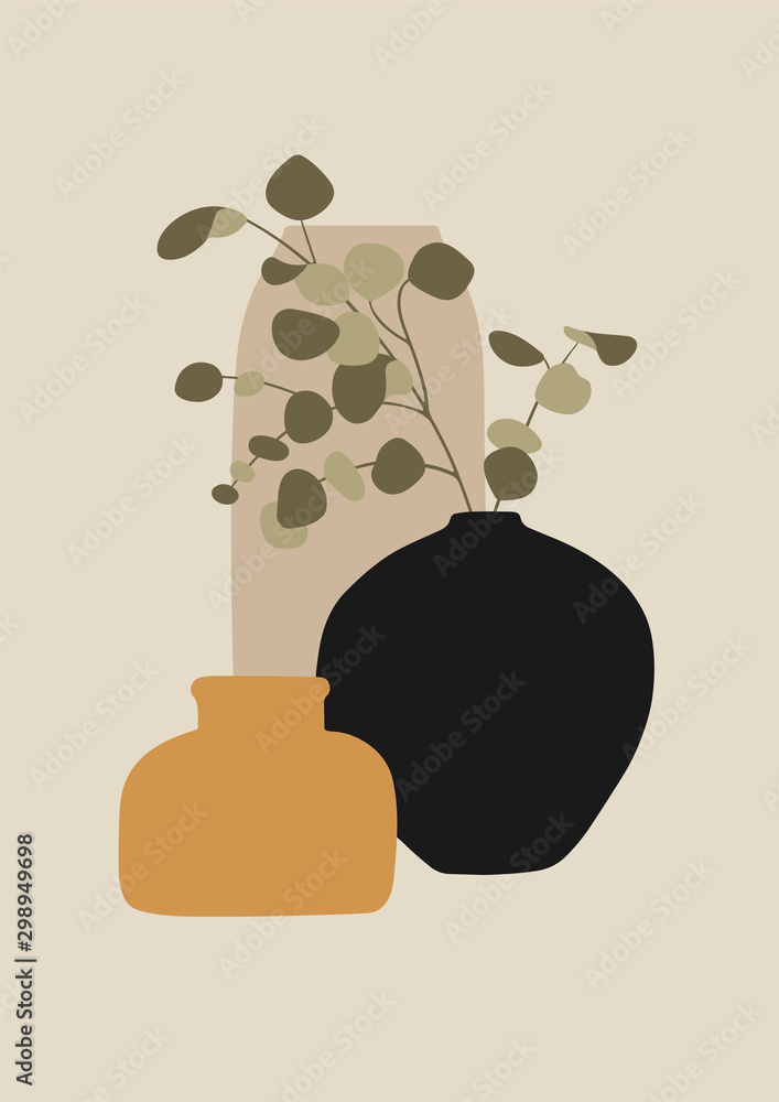 A4 format design for greeting cards, invitations, posters. Vases and eucalyptus branch. Concept minimalist drawing. Stock vector illustration.
