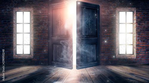 Fotografie, Obraz  Dark room with large windows and open doors