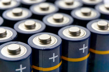 Batteries In Rows. Close-up Or...