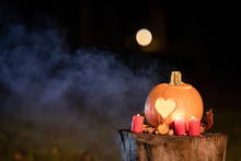 Halloween Pumpkin With Heart. ...
