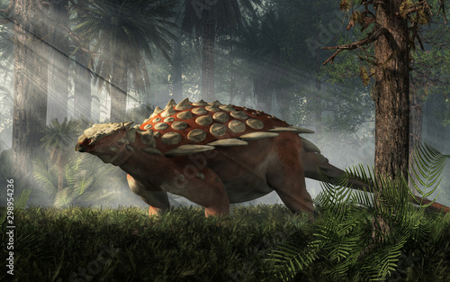 Naklejki dinozaury  gargoyleosaurus-was-an-early-ankylosaur-of-the-late-jurassic-period-it-was-an-armored-herbivore-a-quadruped-with-spikes-along-the-side-3d-rendering