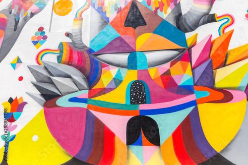 MIAMI, USA - AUGUST 29, 2014 : Graffiti art on wall in graffiti design distri...