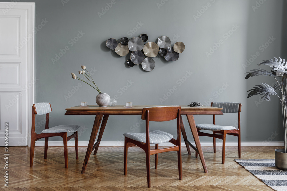 Fototapety, obrazy: Modern dining room interior with glamour wooden table , stylish chairs and design decoration. Template. Home decor.