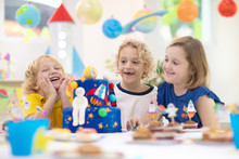 Kids Space Theme Birthday Party With Cake.