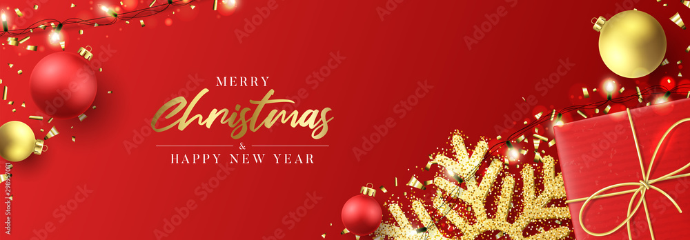 Fototapety, obrazy: Christmas holiday horizontal banner. Festive New Year background with realistic red gift box, snowflakes and sparkling light garlands. Vector illustration with Christmas balls, confetti.
