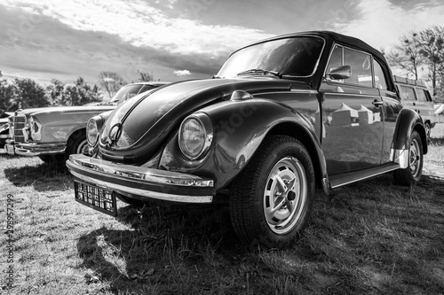 Photo Economy car Volkswagen Beetle on June 08, 2019 in Paaren in Glien by Berlin, Germany