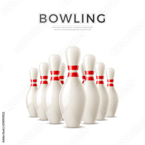 Canvas Print Vector realistic bowling skittle pins 3d icon
