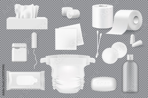 Canvastavla Soap, napkin, cotton pad and swab 3d mockups