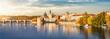 canvas print picture - Blick auf das Herbstliche Prag bei goldenem Sonnenuntergang im Oktober mit Altstadt, Karlsbrücke und Moldau Fluss