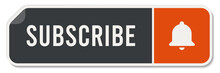 Subscribe Button With Red Bell Icon, Vector Image