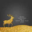 Christmas cards with reindeer and stars with grey and red background and message merry christmas and a happy new year 2020