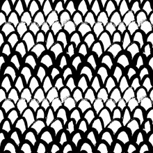 Grunge Fish Scale Hand Drawn Seamless Pattern. Scribble Charcoal Arches, Cambered Doodle Drawing.