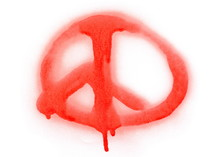Red Spray Stain Peace Sign With Drops Isolated On White Background, With Clipping Path