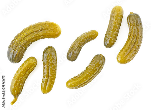 Fotografía  Pickled cucumbers isolated on a white background, top view