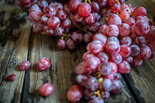 Fresh Organic Red Grape On Old...
