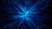 Hyper Jump. Abstract Cosmic Background. Neon Glowing Rays In Motion. Colorful Explosion. 3d Illustration