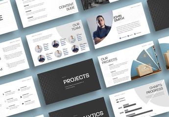 Fototapeta na wymiar Business Presentation Layout with Round Dark Elements