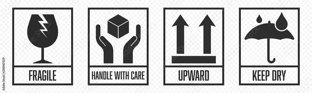 Fototapeta Fragile package icons set, handle with care logistics and delivery shipping labels. Fragile box, cargo warning vector signs