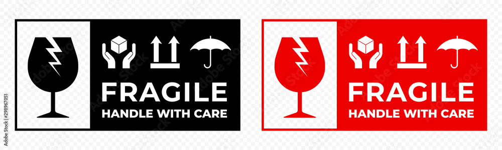 Fototapeta Fragile package icons set, handle with care logistics and delivery shipping labels. Fragile box and glass parcel warning vector signs