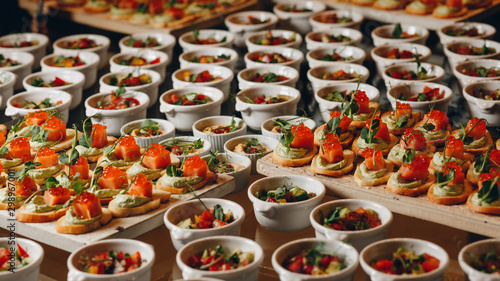 catering food mini canape in restaurant weeding Canvas Print