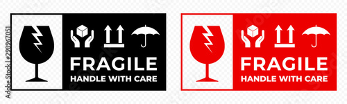 Photo Fragile package icons set, handle with care logistics and delivery shipping labels