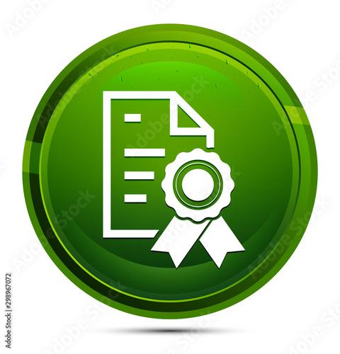 Certificate paper icon glassy green round button illustration Canvas Print