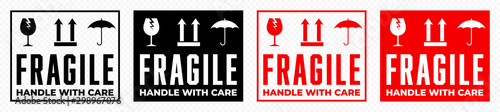 Fotomural  Fragile box, handle with care logistics package vector icons set