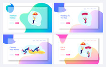 Sky Diving And Bobsleigh Sport Website Landing Page Set. Skydivers Soaring In Sky With Parachute, Sportsmen Riding Bob Downhills, Sports Life Extreme Web Page Banner. Cartoon Flat Vector Illustration