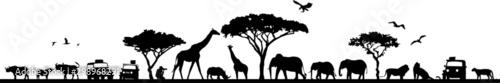 Savanna Landscape Africa Vector Silhouette Wallpaper Mural