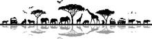 Savanna Landscape Africa Vecto...
