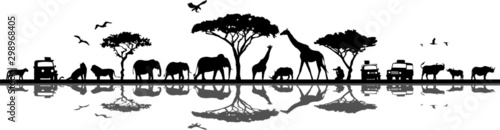 Photo Savanna Landscape Africa Vector Silhouette