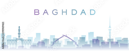 Baghdad Transparent Layers Gradient Landmarks Skyline Fototapeta