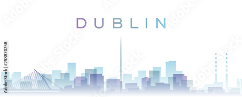 Dublin Transparent Layers Gradient Landmarks Skyline Wallpaper Mural