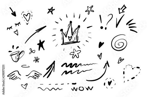 Ręcznie rysowane doodle swishes, zamyka, nacisk wektor zestaw. Kolekcja elementów tekstu czarno-białego podświetlenia, wirowa kaligrafii, ogona, kwiatu, serca, korony graffiti.
