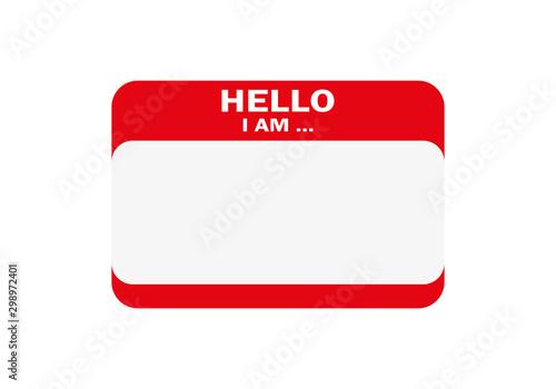 Obraz na plátne Hello, I am..., Sticker Vector, Orange Color