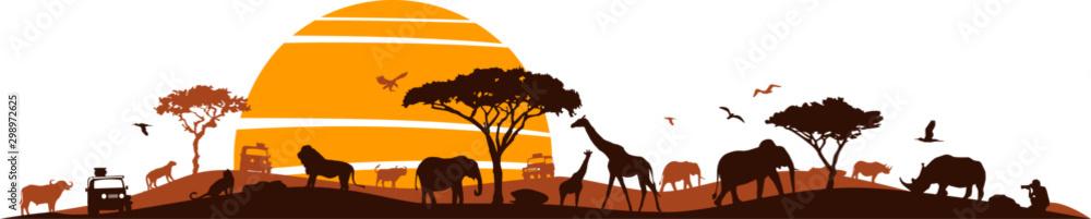 Fototapeta Savanna Landscape Africa Vector Silhouette