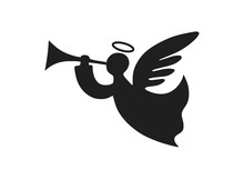 Christmas Angel With Trumpet. Christmas Design Element. Isolated Vector Image