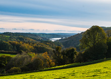 View Of The River Tavy Estuary From The Hills Of Buckland Monachorum Near Yelverton, Devon