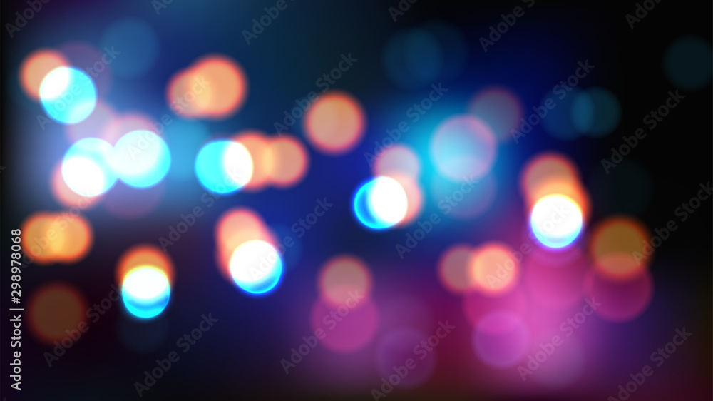 Fototapety, obrazy: Night blurred vector background with bokeh