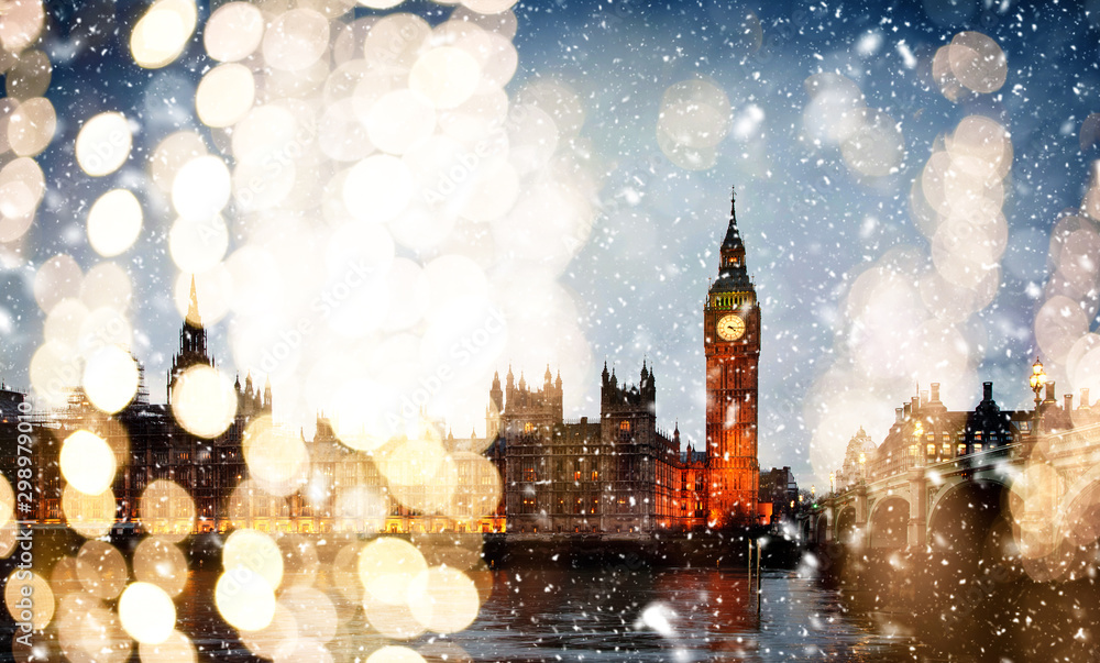 Fototapety, obrazy: snowing in london - winter in the city