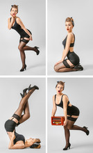 Collage With Beautiful Pin-up Woman On Grey Background