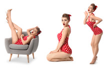 Collage With Beautiful Pin-up Woman On White Background