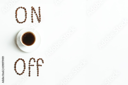 Canvas Prints Cafe Coffee lettering made from roasted coffee beans. Coffee beans isolated. Word off and on made of roasted coffee beans. Food lettering. Isolated. coffee beans isolated on white background.